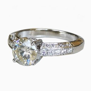 Solitaire Ring 18K White Gold Moissanite of 1.13 K and Diamonds