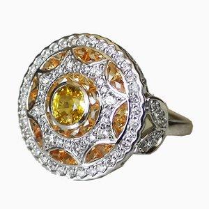 Bague Forme Or 750 18K Art Déco Ronde Ornée de Saphirs Jaunes et de Diamants