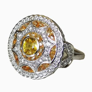 Gold Ring 750 18K Art Deco Round Shape Decorated with Yellow Sapphires and Diamonds