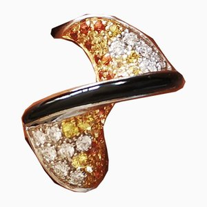 Gold Ring 18K Yellow or Orange Sapphires and Onyx Diamond