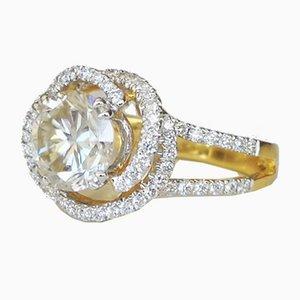 Solitaire Ring in 18 Karat Yellow Diamond Karat Moissanite 1.8
