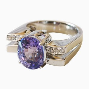 Gold Ring 18 Karat Tanzanite 4.28 Karat Diamonds