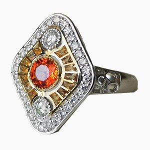 Bague Art Déco en Or Jaune et Blanc 18K avec Saphirs Orange et Diamants