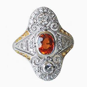 Ring in 18k White Gold Sapphire Art Deco Style Decor Orange Yellow Sapphires Diamonds