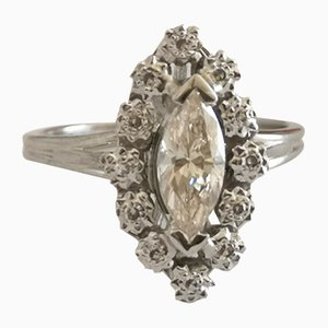 Ring in Grey Gold Navette-Cut Diamonds 0.7 Karats Flanked by Diamonds