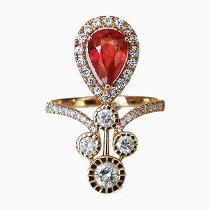 Gold Ring 18 Karat Pink Sapphire Art Deco Orange 1.6 Karat Diamond