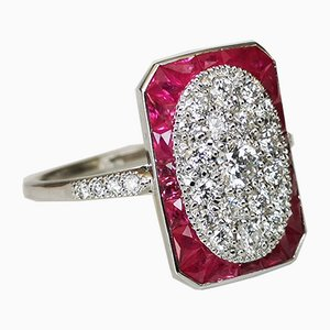 Ring in 18k White Gold Art Deco Style Calibrated Diamonds and Rubies