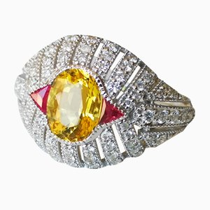 Ring in 18k White Gold Yellow Beryl Style Art Deco 1.5 Karat Rubies and Diamonds