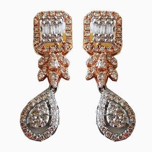Boucles d'Oreilles en Or Blanc et Diamant Rose 18 Carats, Set de 2