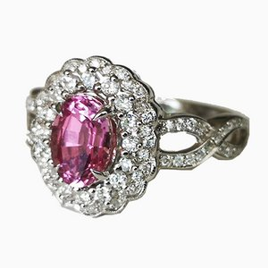 Daisy Ring in 18k Gold Pink Sapphire 1.53 Karats Unheated and Diamonds