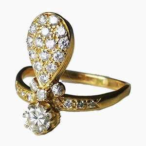 18 Karat Yellow Gold Ring with Diamonds