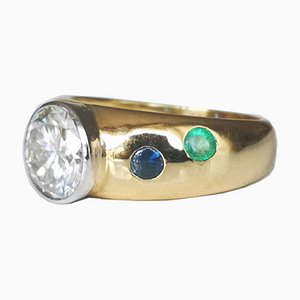 Ring in Yellow Gold with Rubies, Emeralds & Synthetic Diamond