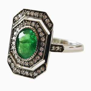 Art Deco Style Gold Ring with Green Garnet and Diamonds