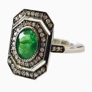Bague Style Art Déco Dorée avec Grenat Vert et Diamants