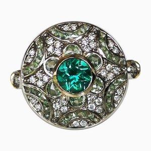 Ring in 750 Gold 18k im Art Deco Stil mit Saphirglas und Diamanten verziert