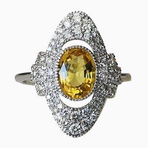 Bague Or de 750 18k de Style Art Déco avec Béryl Jaune et Diamants