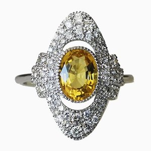 Gold Ring of 750 18k in Art Deco Style with Yellow Beryl and Diamonds