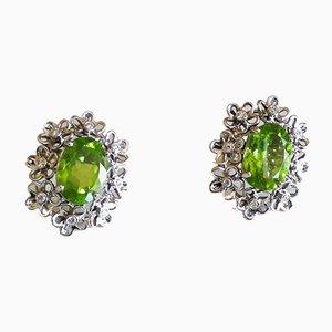 Boucles d'Oreilles Dorées avec Péridots 6k et Diamants, Set de 2