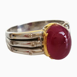 Ring in White Gold 14k with Unheated Ruby 4.3k and Diamond