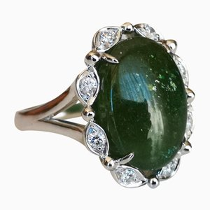 Ring in White Gold 18k Green Tourmaline 13 Karat and Diamond