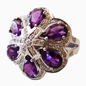 Ring in 18k White Gold Amethyst and Diamond