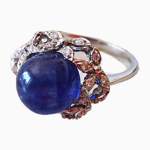 Gold Ring 18k Important 9.92-Karat Sapphire in a Diamond