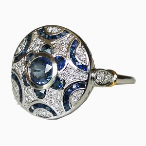 Ring in 18k White Gold Sapphire Diamonds Art Deco Style