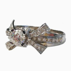 Ring in 18 Karat White Gold Adorned with Diamonds