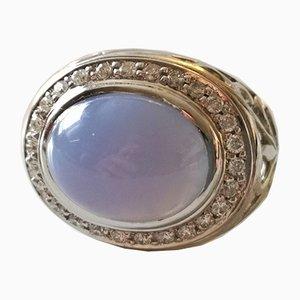 Bague en Agate et Diamants en Argent 18K et Bleu