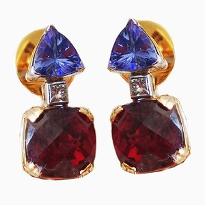 Gold Earrings 18k Yellow Diamond Tanzanite Garnets, Set of 2