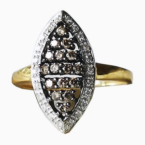 Ring Gold Marquise 18k Yellow Brown Diamond