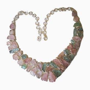 Halskette mit silbernen Morganiten und Aquamarinen