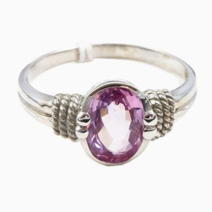 Ring in 750 White Gold 18k with Pink Sapphire