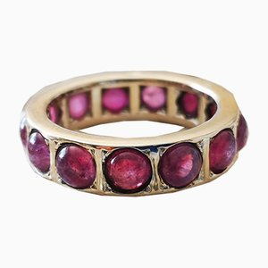Ring in 18k White Gold 750/1000 with Cabochon Rubies