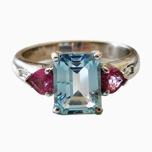 Gold Ring with Blue Topaz, Pink Sapphires & Diamonds