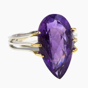 Ring in 18k White Gold with Pear Amethyst