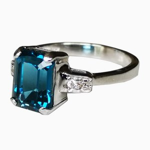 Grey Gold Ring 750 18k Blue Topaz London 2.9k Diamonds