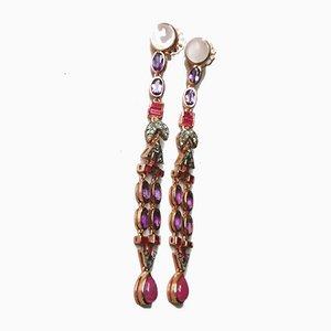 Ohrringe aus Silber Mondstein in Rubin, Amethyst & Diamant, 2er Set