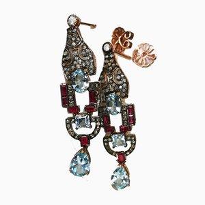 Boucles d'Oreilles Dorées et Argentées avec Rubis Topazes Bleus et Diamants, Set de 2