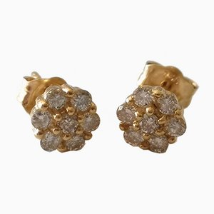 Pierced Ears Daisies 18k Yellow Gold Diamonds, Set of 2