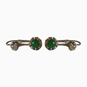 Earrings in Emerald Gold and Diamonds, Set of 2