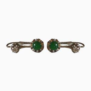 Ohrringe in Smaragd Gold & Diamanten, 2er Set