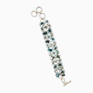 Großes und Flexibles Silberarmband mit 33 Blau