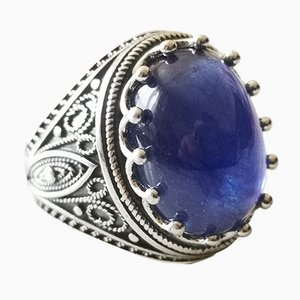 Signet Ring with Cabochon Sapphire Silver 15k