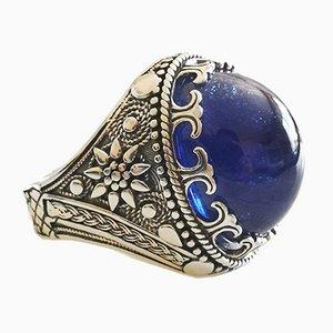 Silberner Siegelring mit großem Cabochon Sapphire 15 Karat