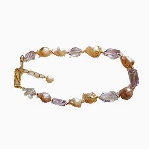 Silberne Halskette Barocke Perlen und Rosenquarz