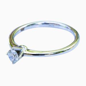 Bague Solitaire en Or Blanc 750 18K avec Diamant de 0.2 Carat