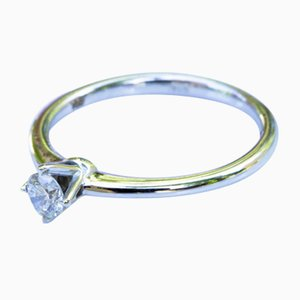 Solitaire Ring in 750 White Gold 18k with Diamond of 0.2 Karat