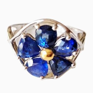 White Gold Ring of 18k Adorned with Crystalline Sapphires