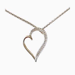 Collier et Pendentif Cœur en Or Blanc 18k avec Diamants